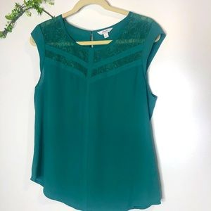 Candie's Green Lace Accent Cap Sleeve Top